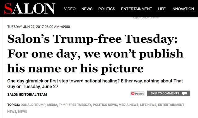 '트럼프 없는 화요일' 선언한 미국의 진보매체...사진이나 기사 일절 게재 않기로  '우린 트럼프로부터 휴식이 필요하다'  https://t.co/aAgXyG7pPS