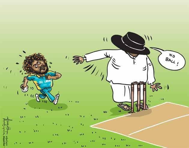 Political Cartoons Of Sri Lanka On Twitter Slinga Malinga Has Been Called No Ball By The Umpire Cartoon By Awanthaartigala Lka Srilanka Cricket