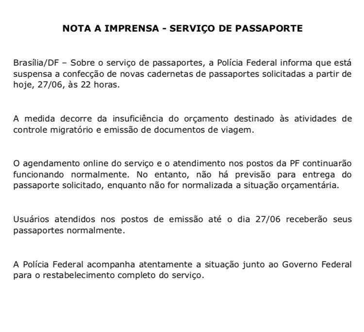 PF anuncia que está suspensa confecção de novas cadernetas de passaportes solicitação a partir de hoje, 22h. 👇🏼
