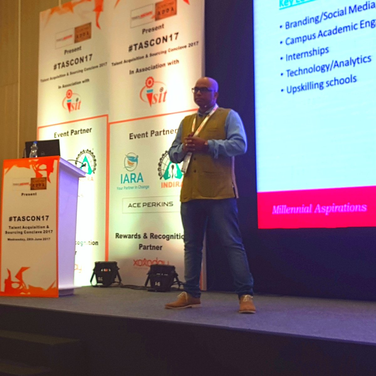 #Millennials working with you for 3 years is a great hire. @Madhavspeaks  #FutureOfWork #TASCON17<br>http://pic.twitter.com/1C5t9M3kQc