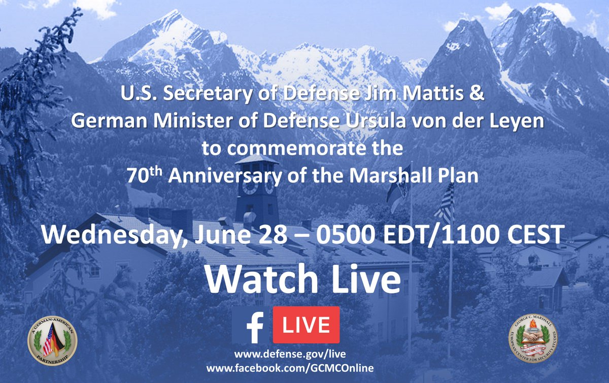 2-Hour Countdown: #MarshallPlan 70th Anniversary Commemoration remarks by #SecDef Mattis, German MOD von der Leyen will be live online <br>http://pic.twitter.com/8pAQLMimtF