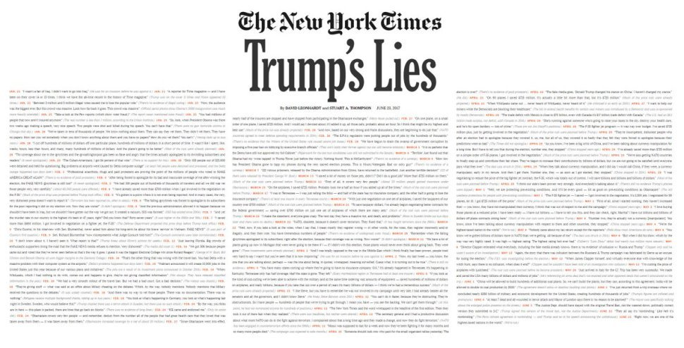.@nytimes Uses A Full Page To Print Every Lie #Trump Told Since Taking Office (STORY) https://t.co/qRenZJPb81