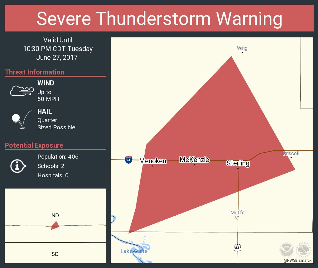 Severe Thunderstorm Warning continues for Menoken ND, McKenzie ND, Sterling ND until 10:30 PM CDT