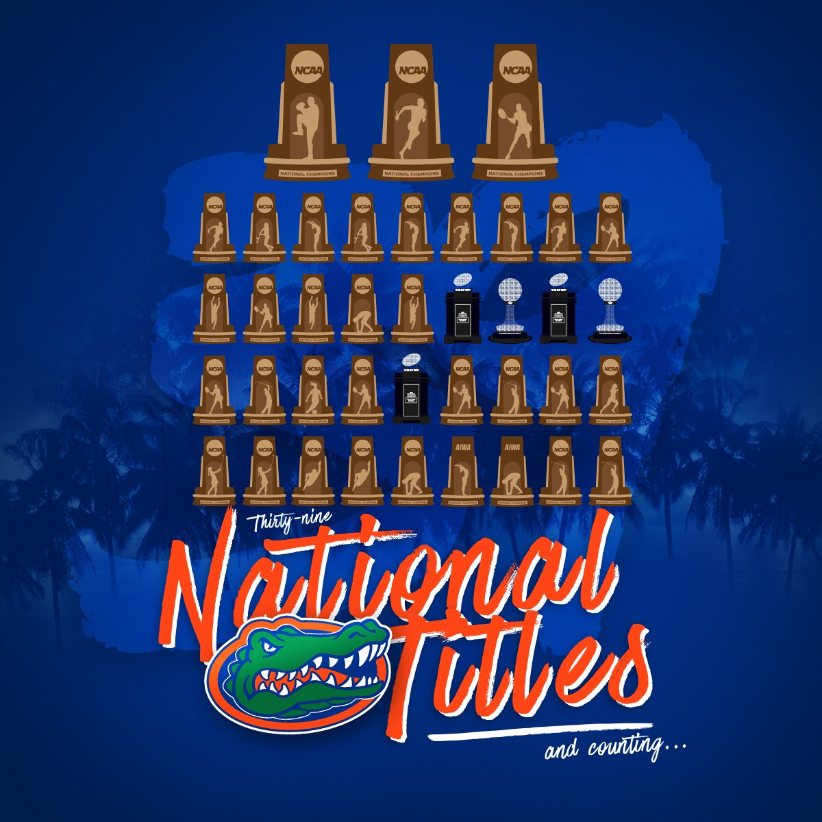 Guess we'll keep adding more shelves! 39 championships... so far. #GoGators #EverythingSchool https://t.co/62lmMPt3W4