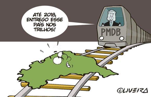 Temer disse de novo q colocou o Brasil nos trilhos.  Precisa desenhar? #ForaTemer
