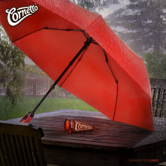 Nothing brings two people closer than some rain, an umbrella and a Cornetto to share #ShowYourLove https://t.co/TwyWehTIIf