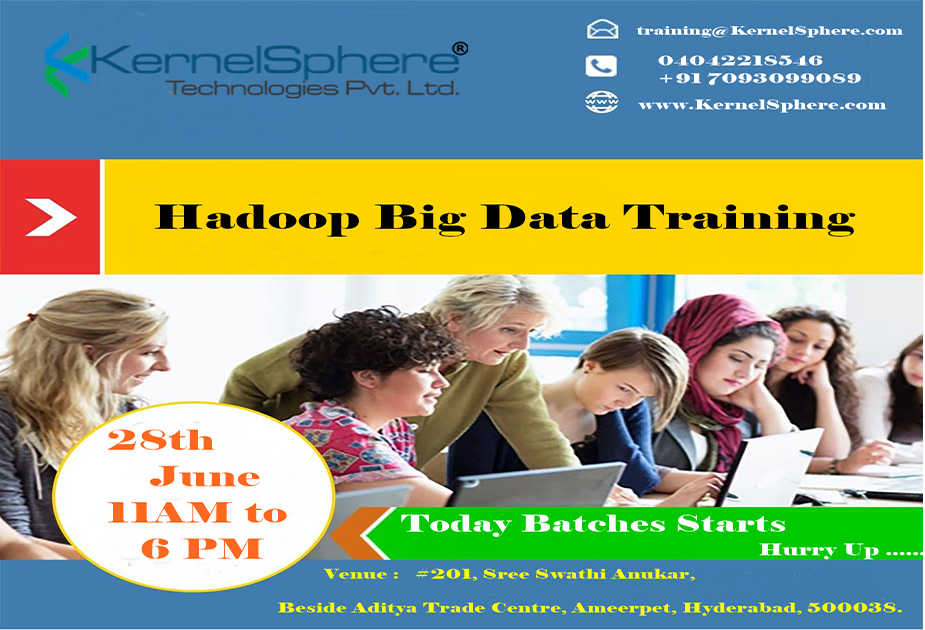 #KernelSphereTechnologies Providing  #NewBatchesStarts on #Today at #Hadoop @11am to 6 pm.  Enroll Now Hurry Up...  https:// lnkd.in/fb4c8_a  &nbsp;  <br>http://pic.twitter.com/XMImYOKwgI