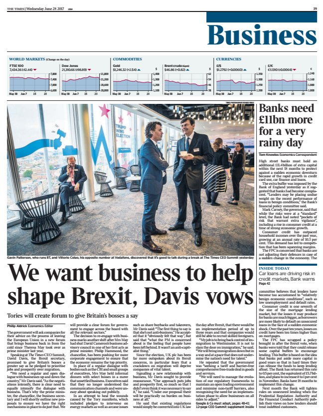 Today's @TimesBusiness front page: We want business to help shape Brexit, Davis vows https://t.co/KSa112i0ZA