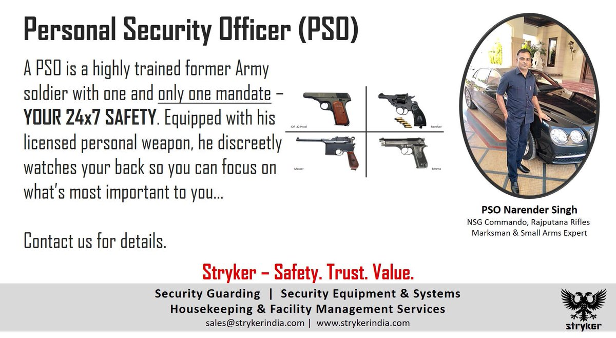 Stryker provides highly trained and motivated Personal Security Officers (PSOs) for your 24x7 safety. #stryker #strykersecurity #safety <br>http://pic.twitter.com/IoqwHKncUA
