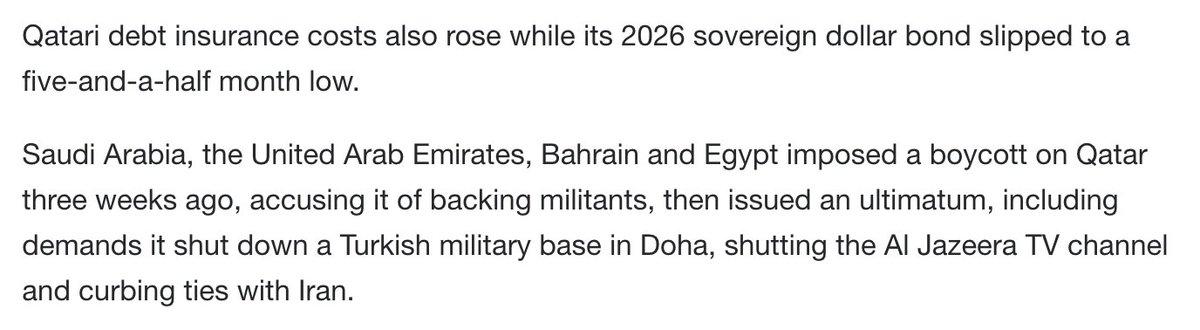 Saudi CDS hits 5-1/2-month high as spat with Qatar rumbles on https://t.co/uNAIb7Pgtj