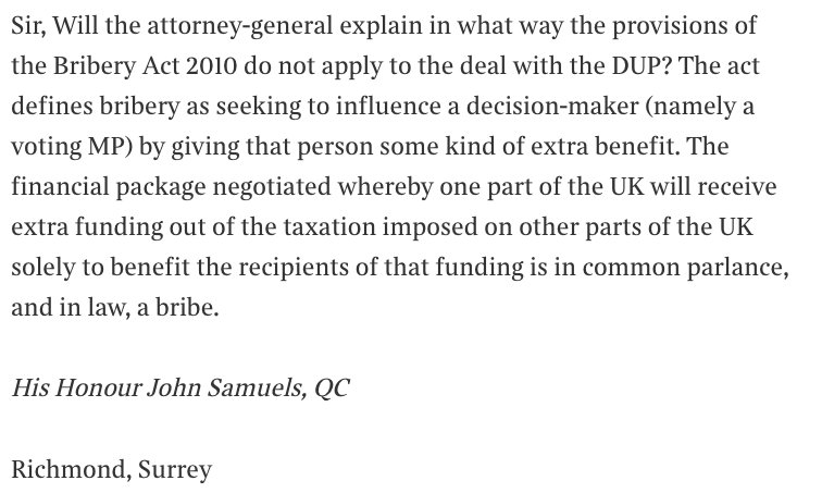 Letter in today's @thetimes from His Honour John Samuels, QC, on Theresa May's deal with the DUP: https://t.co/yK8TxOH7t4