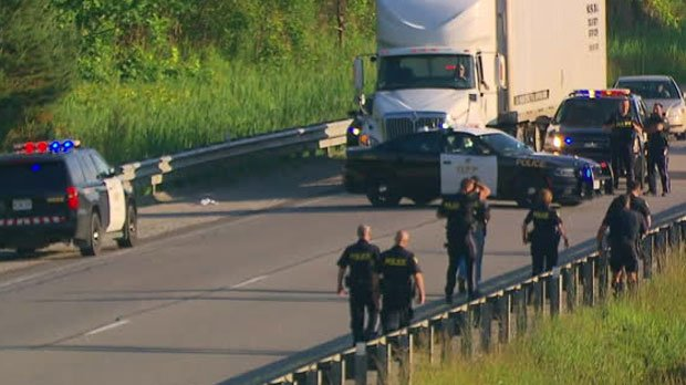 Heavy police presence on Highway 400 after shooting in Black Creek htt...