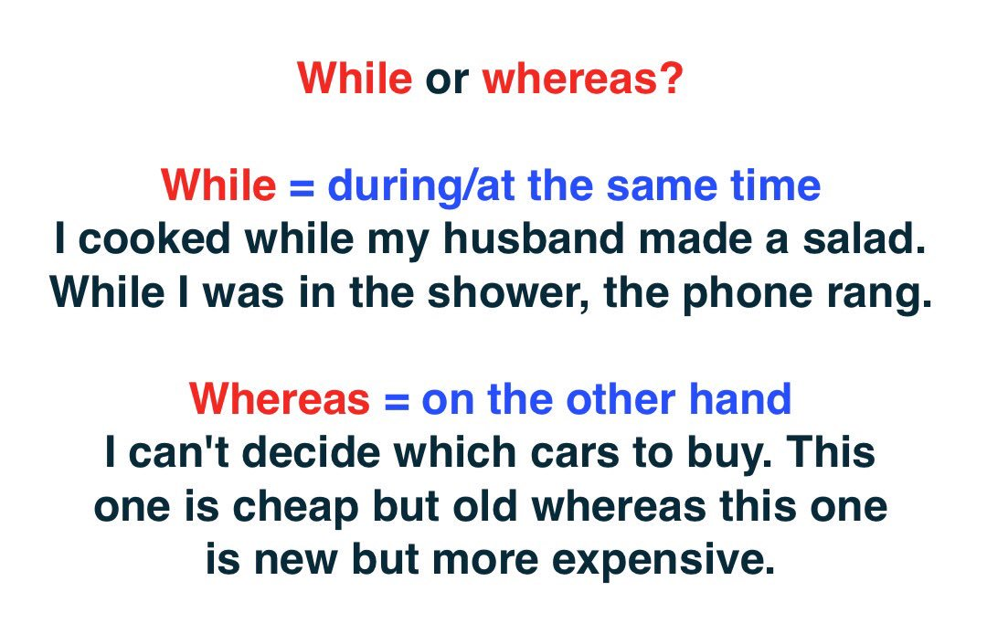 #english #الإنجليزية #inglés #英语 #영어 #英語 #английский #twinglish   While or whereas?<br>http://pic.twitter.com/QDwTm4ZDR2