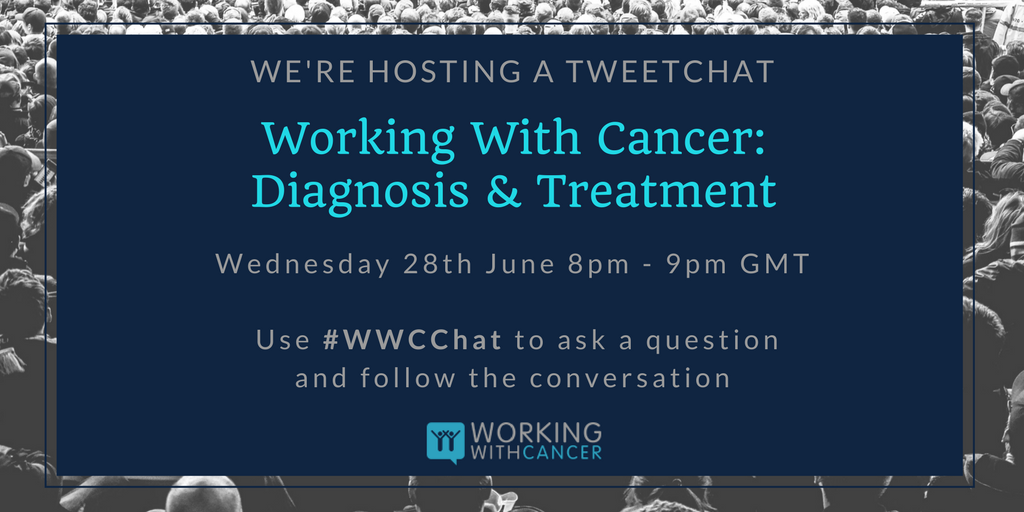 Any questions? Join our founder for a Q&amp;A to discuss managing #work #cancer diagnosis &amp; treatment. Tonight, 8pm-9pm #WWCChat #WorkWithCancer<br>http://pic.twitter.com/7SmzYboDTD