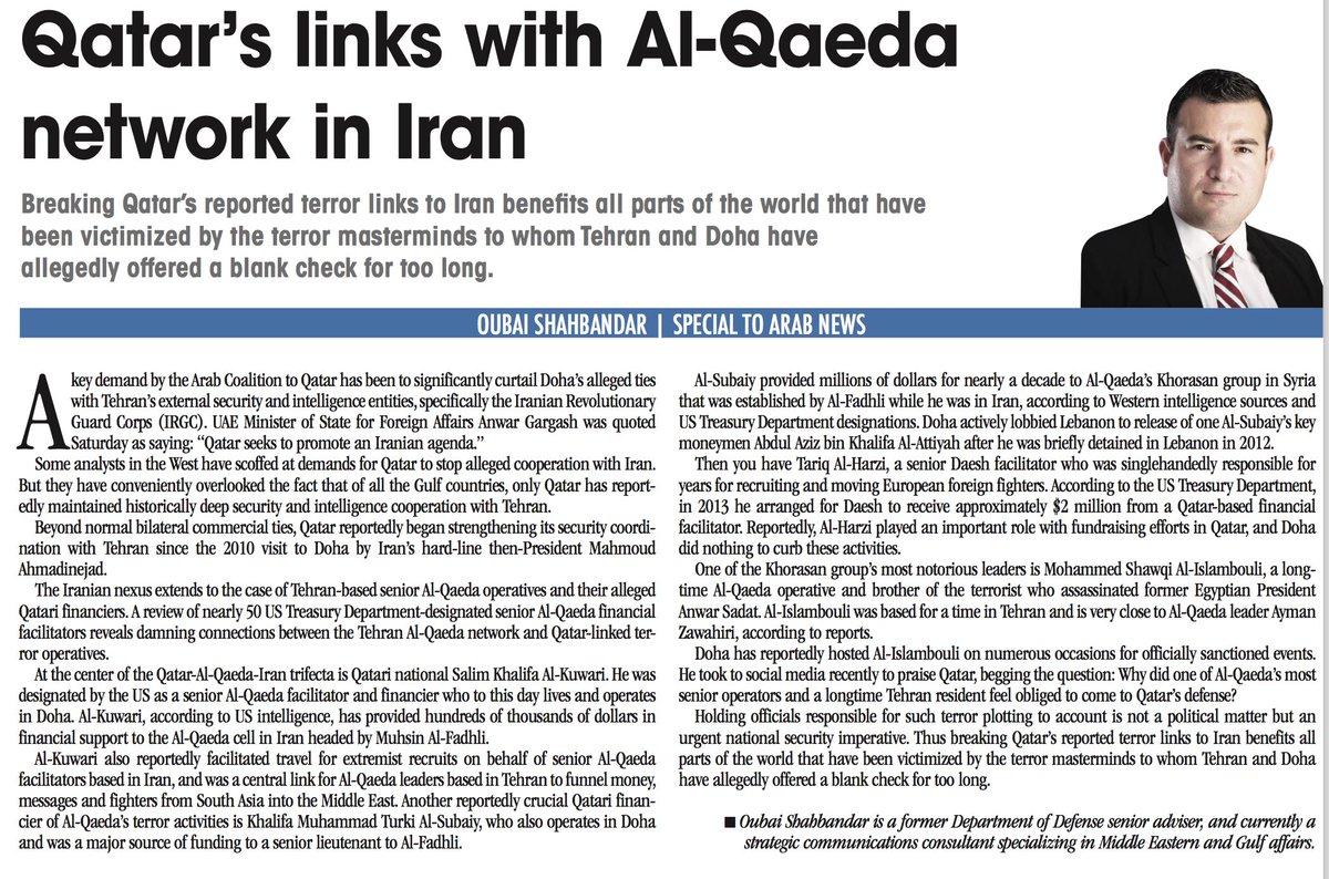 OP-ED: #Qatar's Salim Khalifa Al-Kuwari had been tagged by US intel as financier of #Al-Qaeda cell in #Iran - @OS26  https://t.co/N8S9gHfSZE