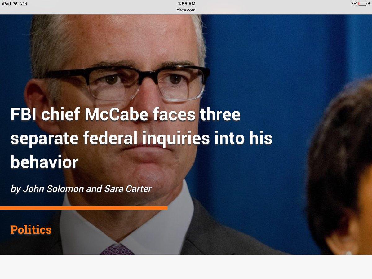 FBI chief McCabe faces three separate federal inquiries into his behavior #fbi #mccabe #obamagate #Wednesday  http:// circa.com/politics/fbi-c hief-andrew-mccabe-faces-three-separate-federal-inquiries-into-his-behavior &nbsp; … <br>http://pic.twitter.com/nWr7nBMy4S