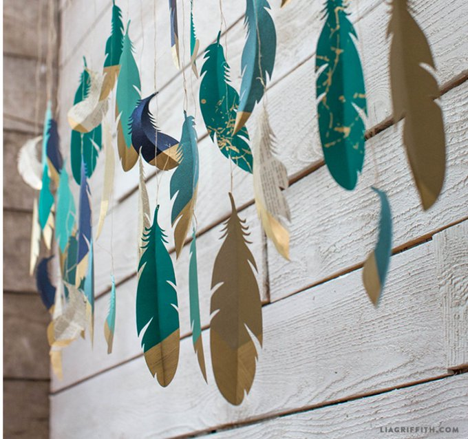Paper Feather Wall Hanging