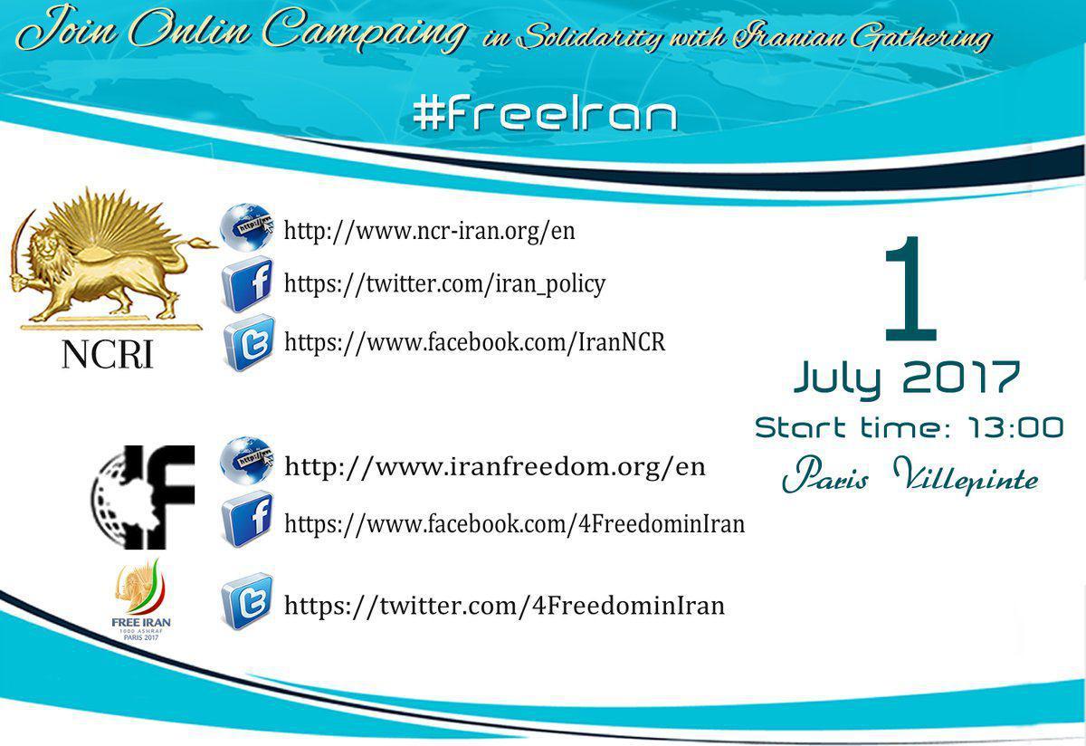 Follow &amp;Support the #Iran&#39;ian ppl 4 #FreeIran. July 1st #Paris.   http:// ncr-iran.org/en  &nbsp;      https:// twitter.com/iran_policy  &nbsp;      http:// facebook.com/IranNCR  &nbsp;  <br>http://pic.twitter.com/hv1JBXXmC7