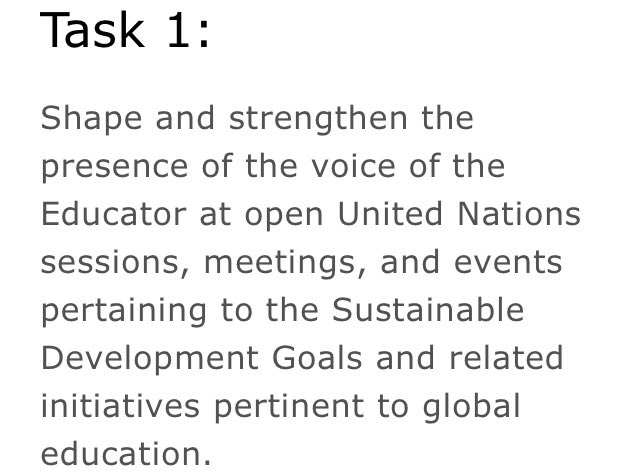 Six months ago: @TheGlobalGoals Educator Task Force was assembled. Today: Speaking at the UN. The movement&#39;s future: Up to you. #TeachSDGs <br>http://pic.twitter.com/KUJh38to5a