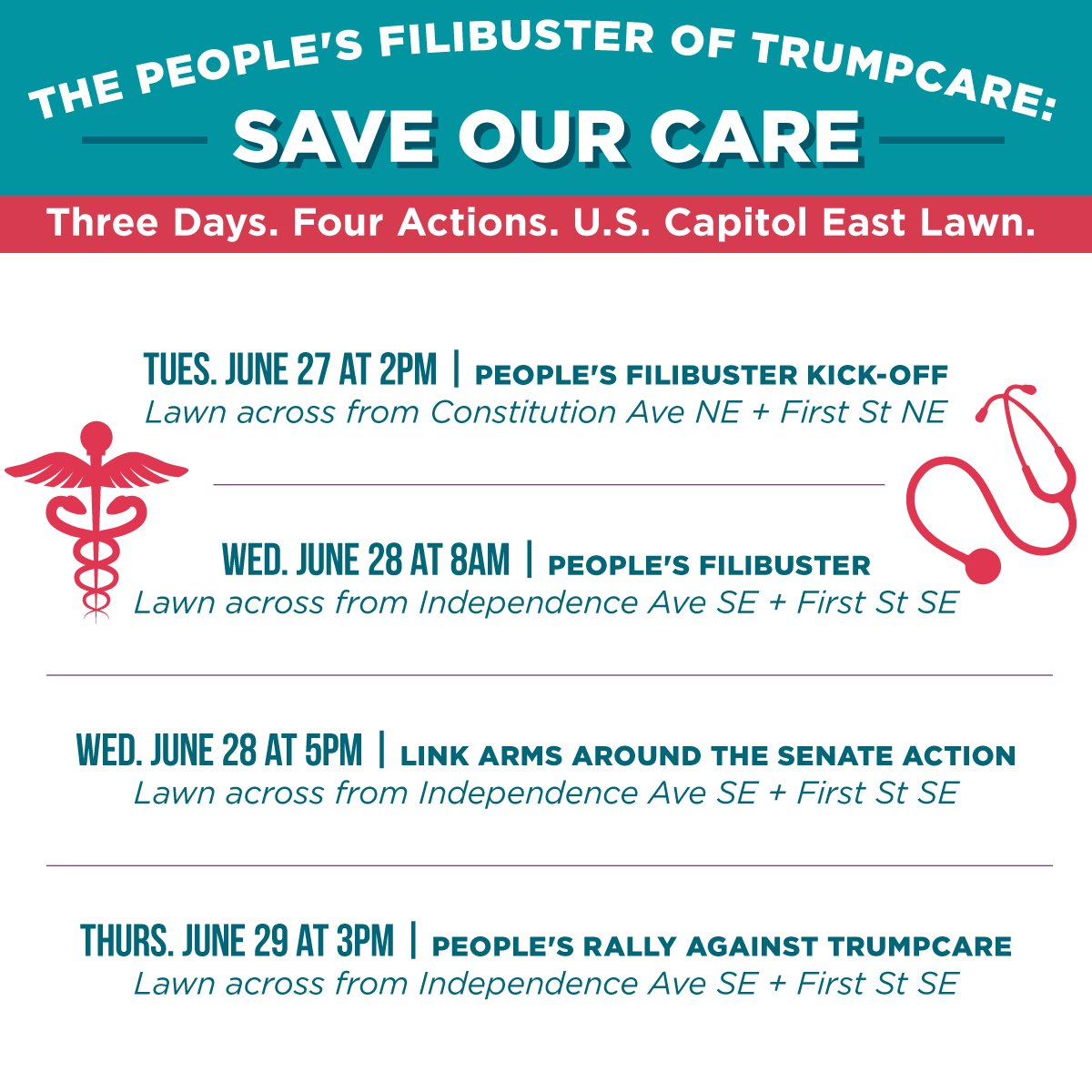 The ACA could be repealed this week! Join the #PeoplesFilibuster from 8-2 to #ProtectOurCare from Trumpcare: https://t.co/uys3HMy6q0