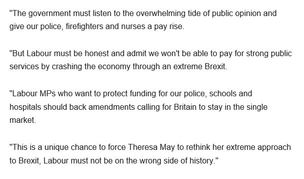 Lib Dems to support Labour amendment on lifting public sector pay, but @acarmichaelmp calls on Lab MPs to back staying in single market