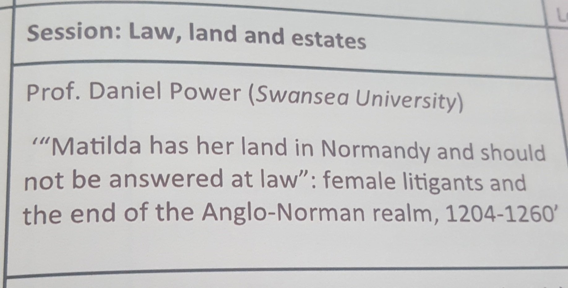 Daniel Power: wmn successful in keeping land in bth England and Normandy because inheritance, widowhood, less of threat #litigatingwomen https://t.co/jhKAzfAkwj