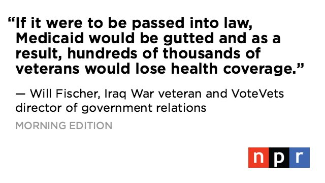 The Senate health bill, which proposes deep cuts to spending on Medicaid, has veterans and advocates worried. https://t.co/TLONpf604U