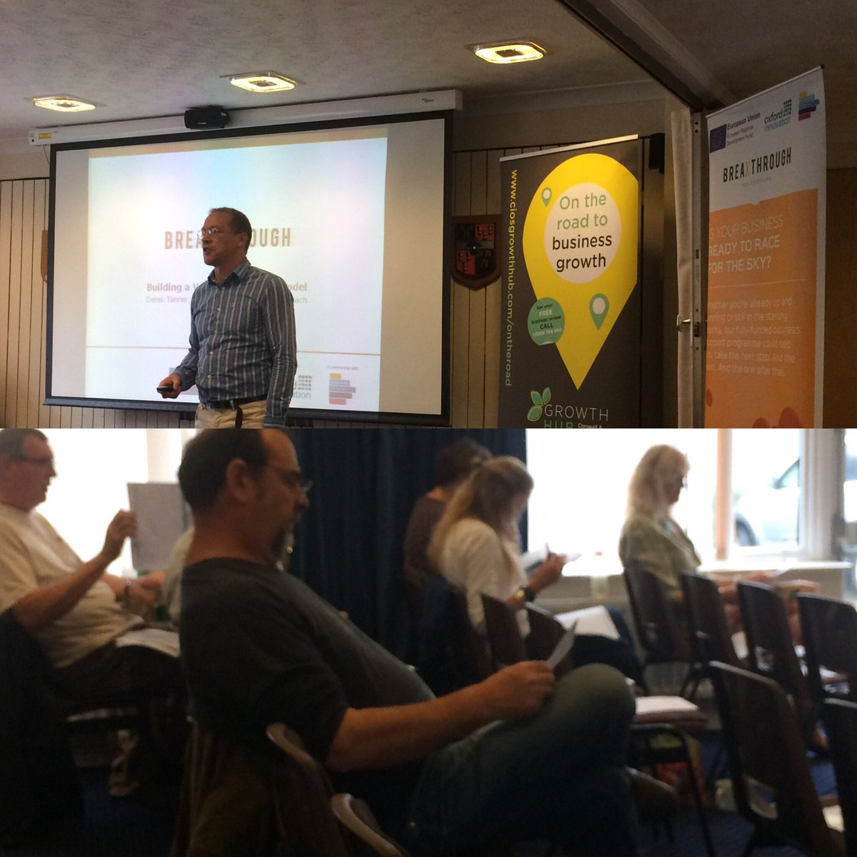 Derek Tanner @oxinnovation @AskBreakthrough talking about Building a Valuable Business Model in Callington #TownTakeover <br>http://pic.twitter.com/05CjZ87GSo