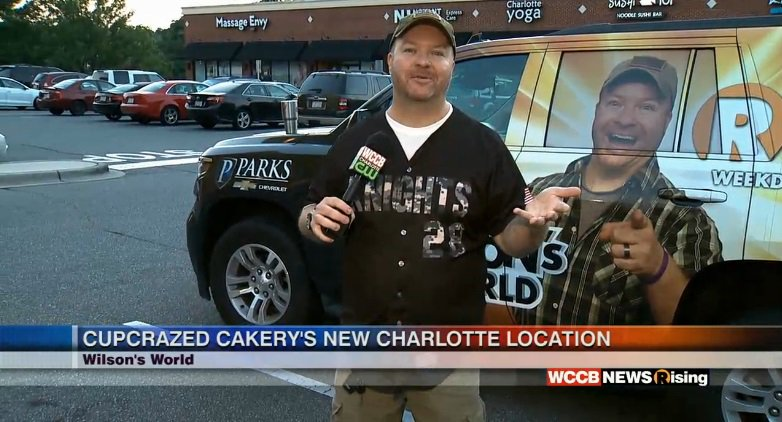 . @WilsonsWorld is checking out Cupcrazed Cakery's new location! Watch him on #WCCB till 9AM.