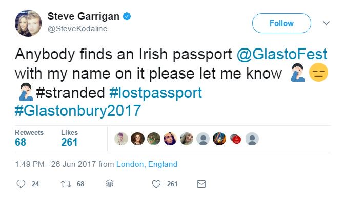 One of the Kodaline lads was left stranded in London after he lost his passport at Glastonbury 🙈: https://t.co/6BHS9G9js3