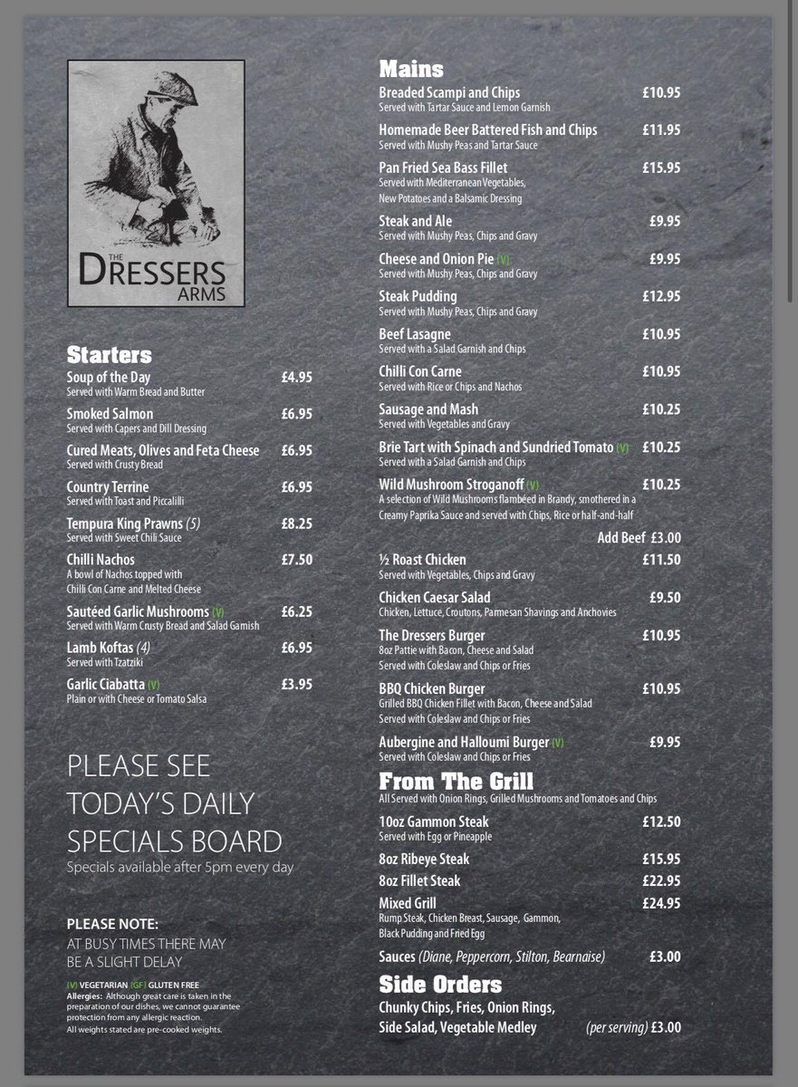 The Dressers Arms On Twitter Check Out Our New Menu And Deals Below