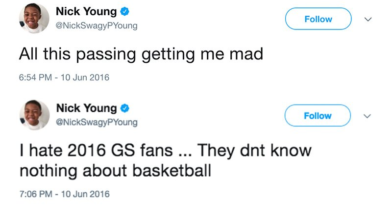 Image result for nick young i hate passing tweet