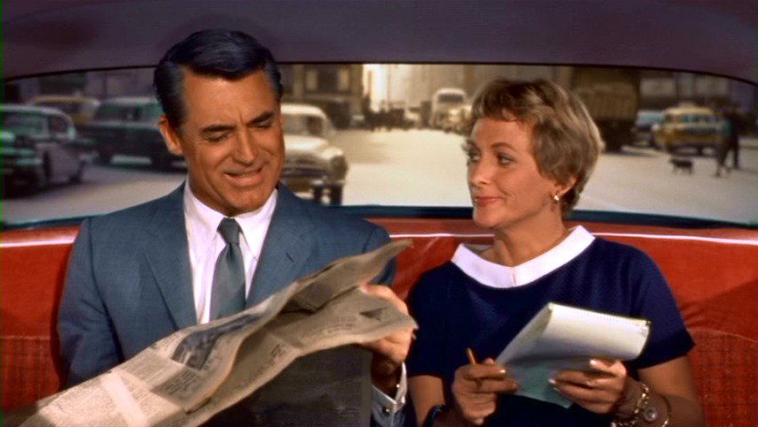 """Cary Grant is always on the left side. This leaves the audience feeling that Grant is never in the """"right"""" place.  North by Northwest (1959)  #Hitchcock pic.twitter.com/67bpJU8QNh"""