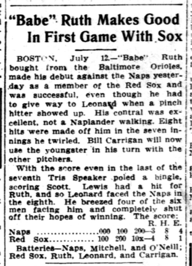 """George """"Babe"""" Ruth makes his @MLB debut for the @RedSox #OTD 1914. More in #ChronAm https://t.co/hiRN9c3aTo https://t.co/RxpT1E5UcT"""