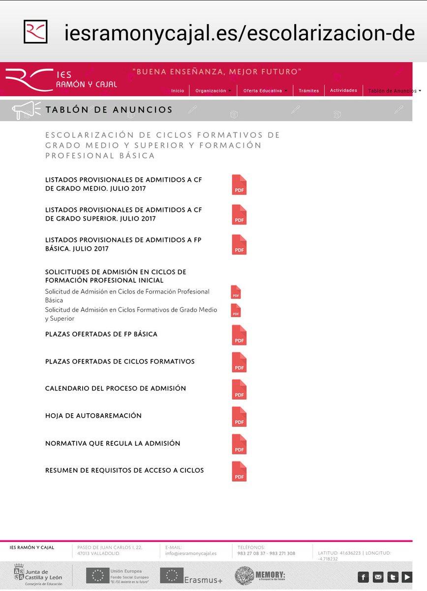 Ies Ramon Y Cajal Va On Twitter Publicados Los Listados