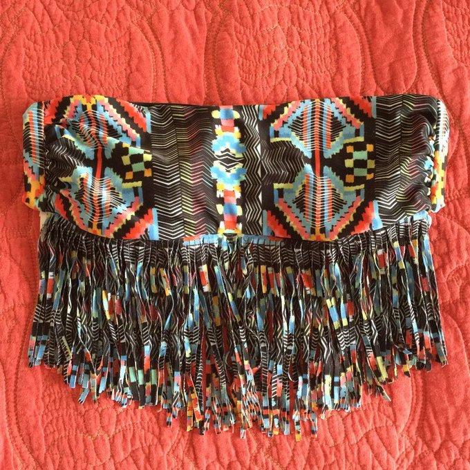 L*Space Multicolor Bandeau Fringe Bikini Top