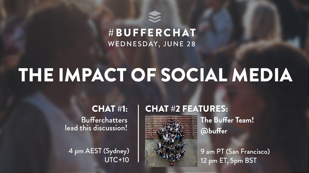 In 10 min, the @buffer community will be chatting about the #impactofsocial in #BufferChat! Will you be there? <br>http://pic.twitter.com/LKppSl8XIZ