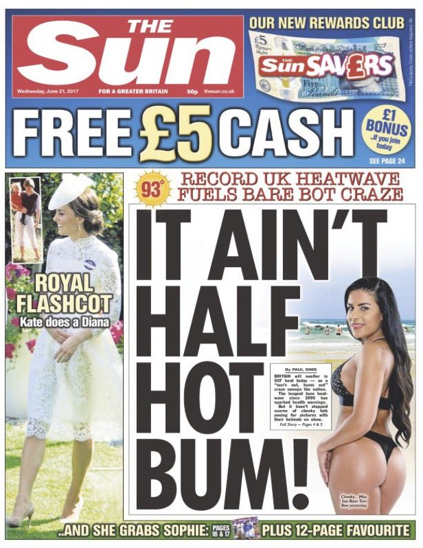 One week, four Sun front pages objectifying women (when there's no shortage of actual news to report) https://t.co/rLuiu3BViQ