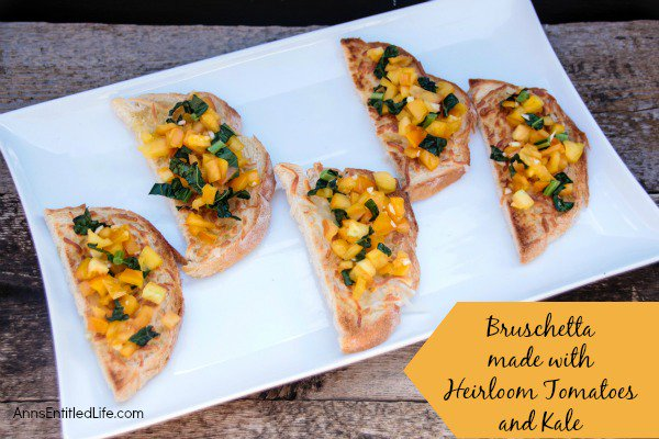 Bruschetta made with Heirloom Tomatoes and Kale