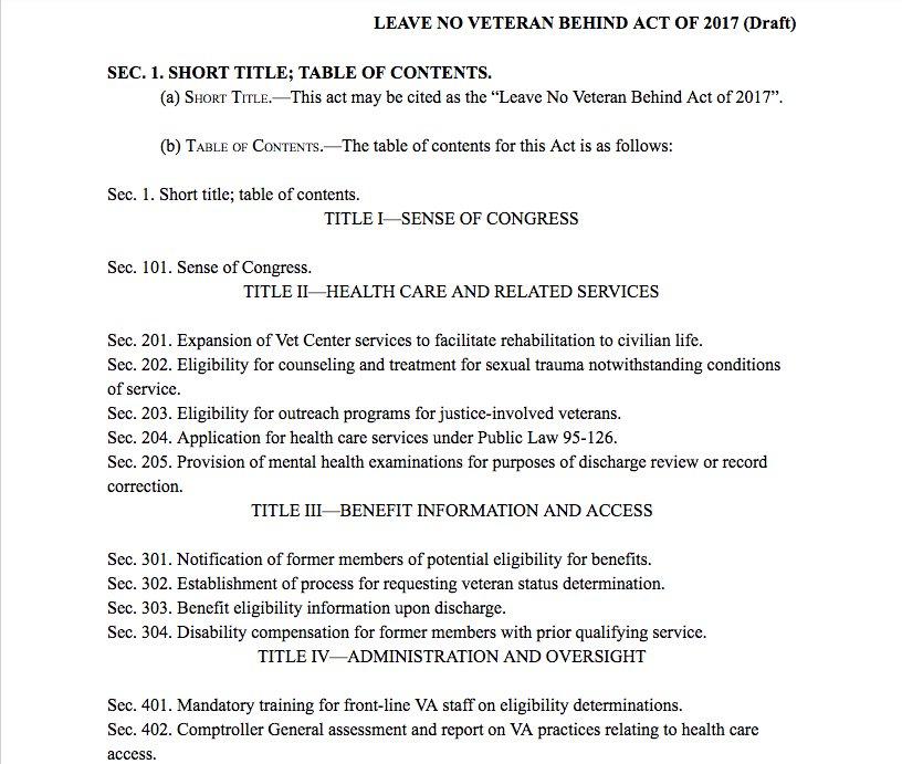 Thread: What&#39;s #LeaveNoVetBehind Act? It&#39;s a draft proposal 2 undo damage 2 #veterans by broken @DeptVetAffairs #badpaper self-imposed rules<br>http://pic.twitter.com/cTE61lU1sa