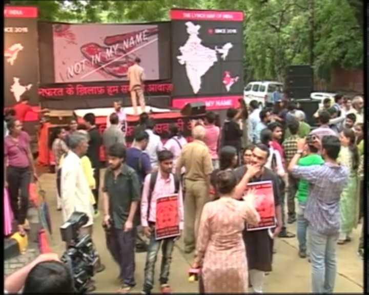Protest against nationwide mob lynchings at Delhi's Jantar Mantar, as...