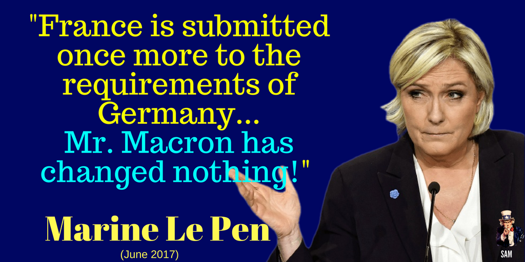 Marine Le Pen:  &quot;France is submitted once more to the requirements of Germany...  Mr. #Macron has changed nothing!&quot;   #BourdinDirect #EU<br>http://pic.twitter.com/8ySrtXgNLD