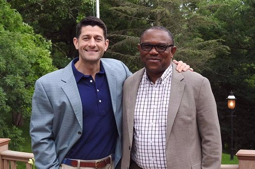 Current Speaker of USA House of Representatives, Paul Ryan meets with the former Governor of Anambra State, Mr. Peter Obi in the USA at the weekend.