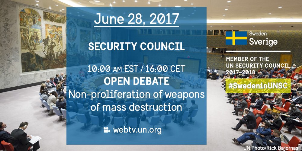 Today 10AM in the #UNSC: Open Debate on &#39;Global efforts to prevent the proliferation of WMD to non-state actors&#39; →  http:// webtv.un.org  &nbsp;  <br>http://pic.twitter.com/XNK1dV0ygE &ndash; bij United Nations Security Council Chamber