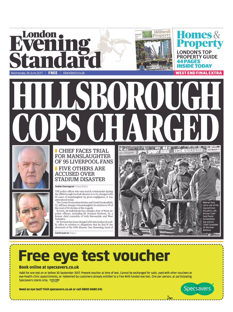 Image result for evening standard hillsborough cops charged