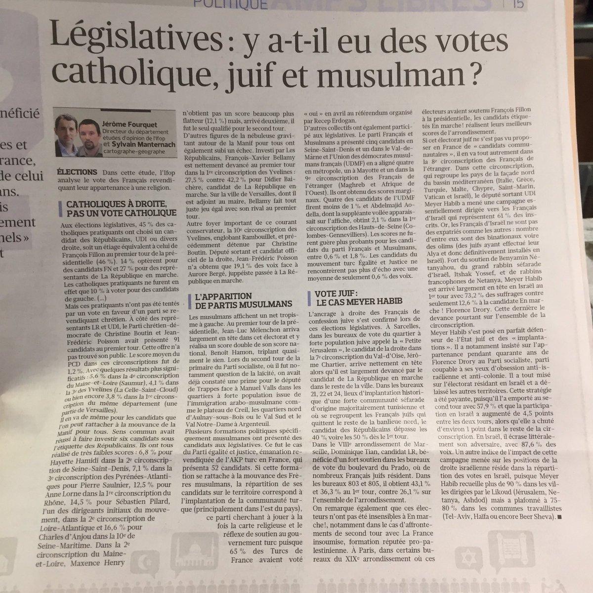 '#Legislatives2017 : y a-t-il eu des votes catholique, juif et musulma...