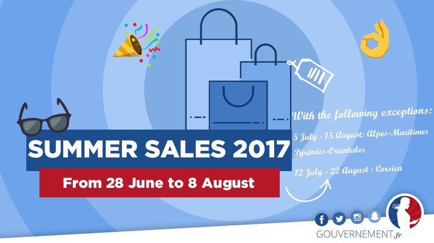 #Sales2017 The 6 week-long summer sales have begun in #France ! 🇫🇷 With exceptions for certain departments 😉👖💄
