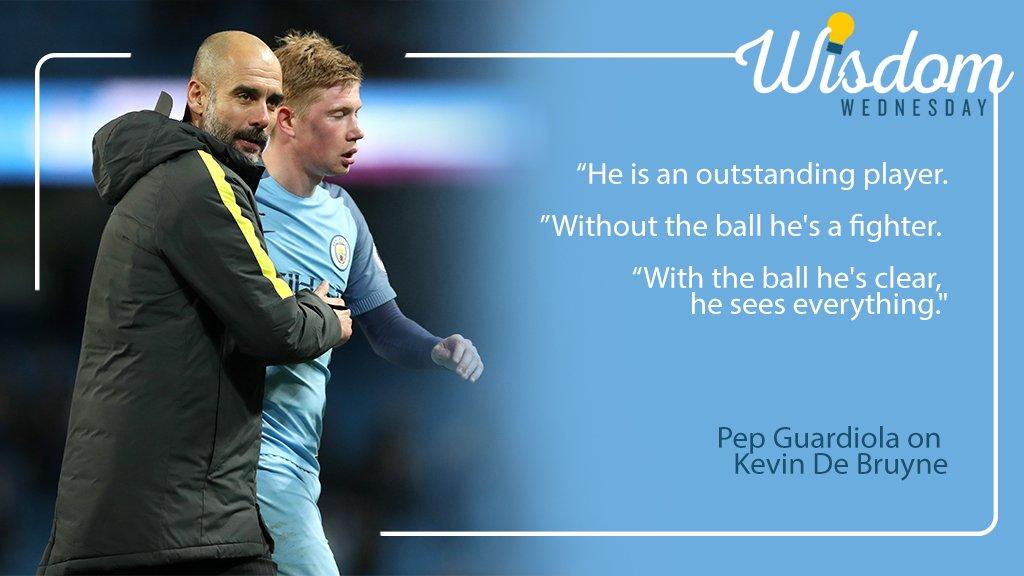 #WednesdayWisdom from Pep Guardiola on @DeBruyneKev! #mcfc https://t.c...