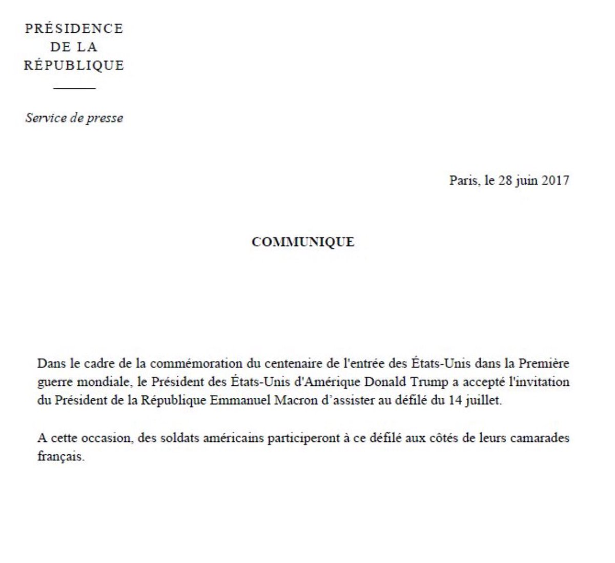 July 14 visit by @POTUS to #France confirmed by office of President. @EmmanuelMacron.