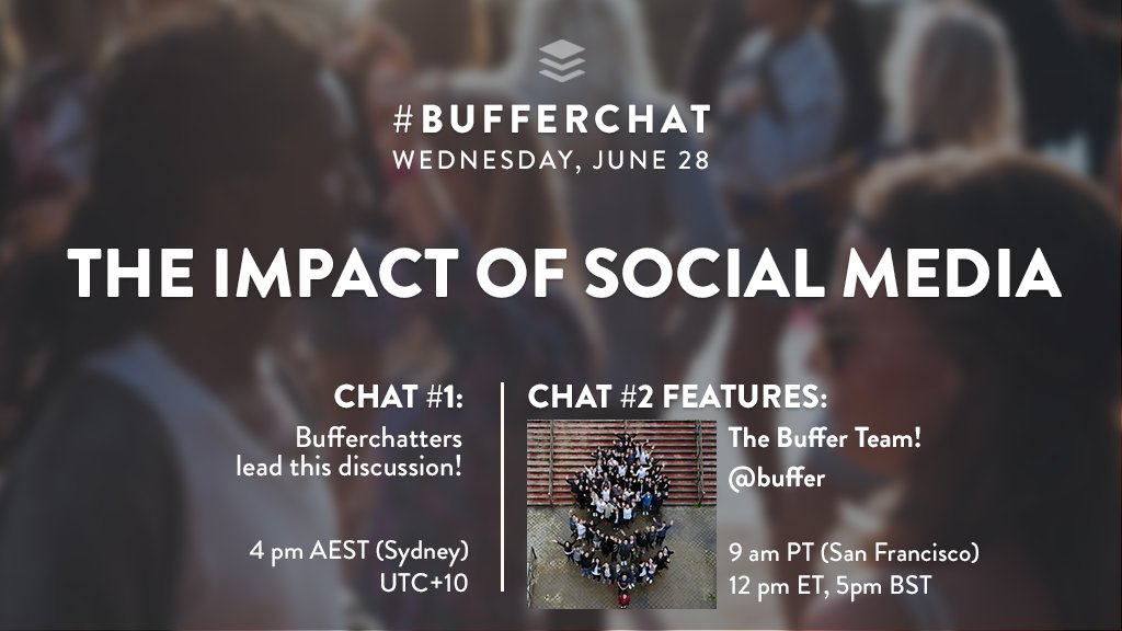 Today in #bufferchat, we're celebrating the positive impact of social media! Join in for the 2nd chat of the week at 9 am PT!  <br>http://pic.twitter.com/wUYr782EaD